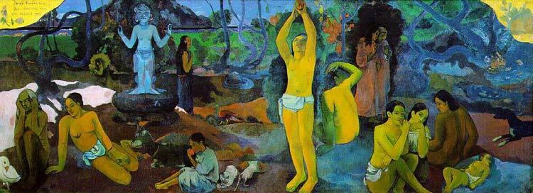 """PAUL GAUGUIN: """"¿De donde venimos? ¿Quienes somos? ¿A dónde vamos?"""" – oleo sobre lienzo, 139- 375 cm. - 1897, Boston, Museum of Fine Arts."""