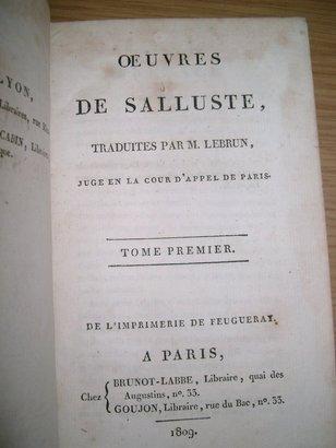 UN LIBRO DE SALUSTIO PUBLICADO EN TIEMPOS DE NAPOLEÓN. HISTORIA CULTURAL