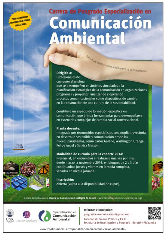 Inscripción abierta a la carrera de posgrado Especialización en Comunicación Ambiental