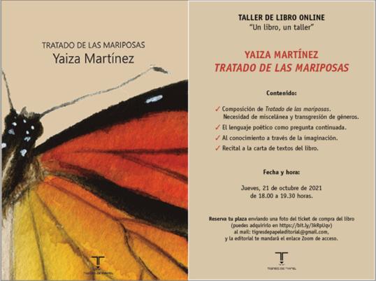 """Taller de libro sobre """"Tratado de las mariposas"""", de Yaiza Martínez"""