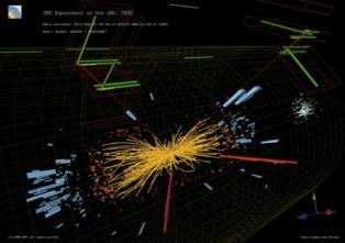 Colisiones protón-protón en las que se observan dos electrones y dos muones de alta energía. Imagen: L. Taylor/T. McCauley. Fuente: CERN.