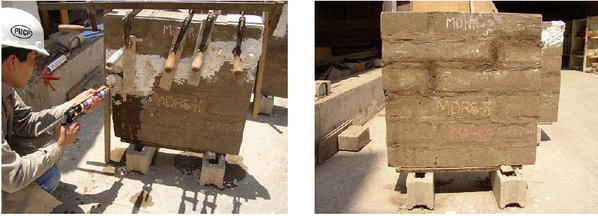 Reparación de muretes con grout de suelo. (PUCP)