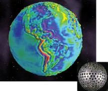 En relieve, la desviación gravitacional terrestre. Nasa