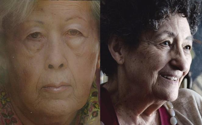 De izquierda a derecha, las poetas Julia Uceda y Francisca Aguirre. Fuente: www.genialogias.com.