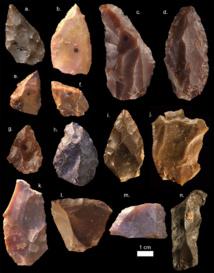 Herramientas de piedra halladas en Jebel Irhoud. Credit: Mohammed Kamal, MPI EVA Leipzig