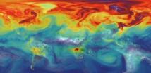El CO2 en la atmósfera de la Tierra si la mitad de las emisiones de gases de efecto invernadero no es absorbida. Simulación por ordenador de la NASA.