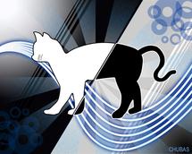 Gato de Schrödinger, clásico ejemplo de superposición de estados. Imagen: Chubas. Deviantart.