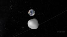 Representación del paso del asteroide. Credits: NASA/JPL-Caltech. Click sobre la imagen para ver la animación.