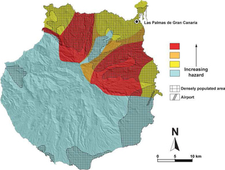 Mapa de riesgos volcánicos en Gran Canaria. Mapa: Rodríguez-González et al.