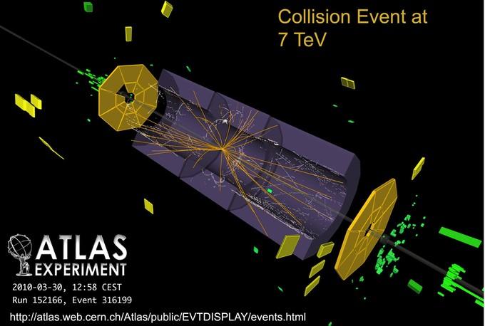 Colisiones a 7 TeV captadas por las experiencias en el LHC. Imagen: CERN