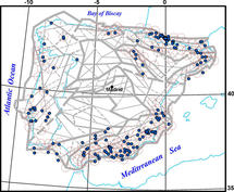 Mapa de nodos con potencial de generar terremotos moderados en la Península Ibérica. Imagen: A. I. Gorshkov et al.