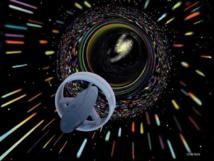 Ilustración de una nave espacial que usa energía negativa para deformar el espacio-tiempo y viajar más rápido que la luz. Les Bossinas / NASA