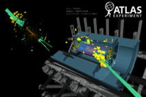 Visualización del experimento con el bosón de Higgs. ATLAS.
