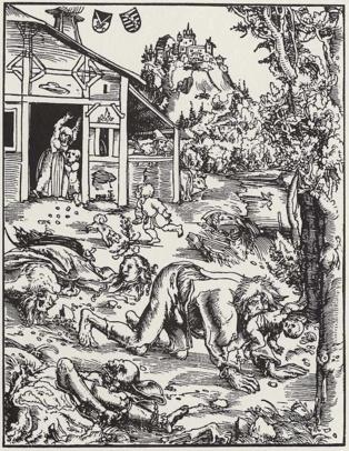 Imagen: Grabado en madera de un ataque de hombre lobo, de Lucas Cranach der Ältere (1512). Fuente: Wikimedia Commons.