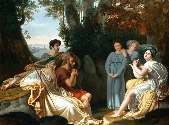 Safo cantando para Homero, de Lafond. Fuente: Wikimedia Commons.