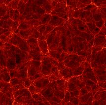 Filamentos de materia oscura a lo largo de los cuales se ha predicho que se formaron las galaxias. Fuente: Universidad de California.