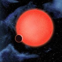 Recreación artística del 'mundo de agua' orbitando su estrella. Imagen: NASA et al.