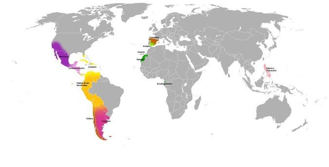Variedades principales del español. Fuente: Wikimedia Commons.