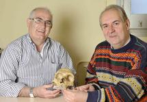 BIenvenido Martínez-Navarro y Policarp Hortolà con una réplica de cráneo neandertal. Imagen: IPHES.