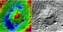 Detalle de la depresión de Rheasilvia, situada en el hemisferio sur de Vesta. Imagen: Science/AAAS