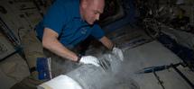 El astronauta André Kuipers controla las muestras de sangre del experimento. Imagen: ESA.