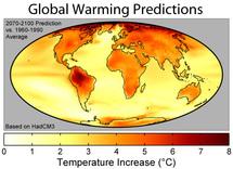 Distribución geográfica de calentamiento de la superficie durante el siglo XXI. En esta figura, el calentamiento global corresponde a un promedio de 3,0 ° C. Fuente: Wikimedia Commons.