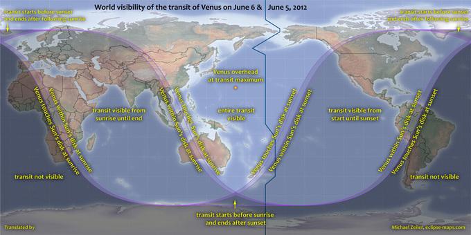 Visibilidad mundial del tránsito de Venus. Click para ampliar.