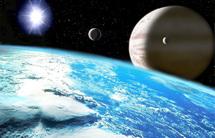 Representación artística de un planeta extrasolar gigante con un satélite similar a la tierra, con vastos océanos de agua. Fuente: Wikimedia Commons.