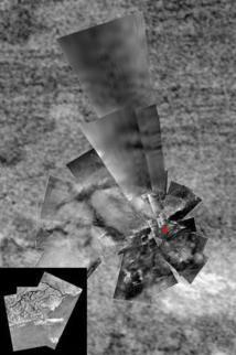 Mosaico del lugar donde la sonda Huygens alunizó en Titán. Fuente: ESA/NASA/JPL/Universidad de Arizona/USGS.