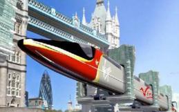El tren de rieles tubulares, invirtiendo la ingeniería ferroviaria tradicional. Imagen: tubularrail.com