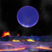 Recreación artística de como se ve un planeta desde el otro. David Aguilar, Harvard-Smithsonian Center for Astrophysics. UW.