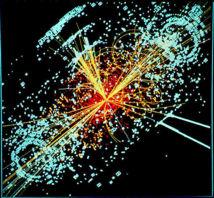 Simulación del detector CMS del Gran Colisionador de Hadrones, que muestra cómo se prevé que sean las trazas del bosón de Higgs. Imagen:Lucas Taylor.