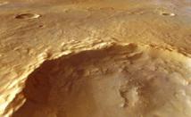 Rocas hidratadas arrancadas del subsuelo marciano. Imagen: Mars Express HRSC, ESA/DLR/FU Berlin (G. Neukum); NASA/MOLA Science Team; D. Loizeau et al.