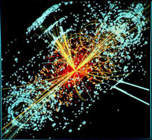 Una traza hipotética del bosón de Higgs en una colisión simulada de protón-protón. Fuente: Wikimedia Commons.