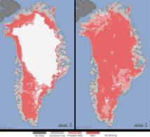 El deshielo se ha producido, en distintos grados, hasta en las zonas más altas y frías de la isla. Imagen: NASA. Fuente: SINC.