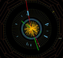 Choque de protones en el detector CMS a 8 TeV, formando bosones Z que se desintegran en electrones (líneas verdes) y muones (rojas). Este evento es compatible con la desintegración de un bosón de Higgs del modelo estándar. Imagen: CMS-CERN. Fuente: SINC.