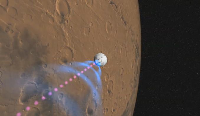 Recreación artística de cómo el robot Curiosity se comunicará con la Tierra durante el aterrizaje. NASA.