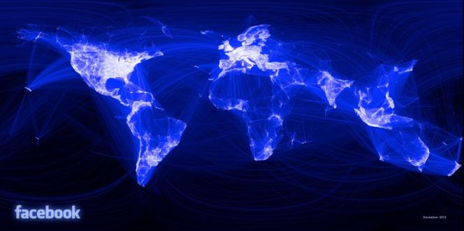 Mapa visual de la red mundial de Facebook el 14 de diciembre de 2010. John Haydon.