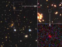 Cúmulo de galaxias MACS1206 tomada por la colaboración CLASH en la que se aprecia el efecto de lente gravitatoria. Fuente: NASA.