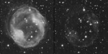Comparación de la imagen de la nebulosa obtenida a través del filtro rojo R tal cual (izda.), con la misma imagen después de restarle la imagen tomada con el filtro de banda estrecha H-alfa (dcha.). Fuente: Fundación Descubre.