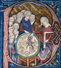 """""""Mujer enseñando geometría"""". Ilustración en los inicios de la traducción medieval de los principios de Euclides, (c. 1310). Fuente: Wikimedia Commons."""