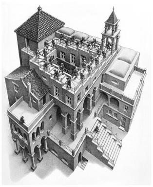 Klimmen en Dalen, Escher.