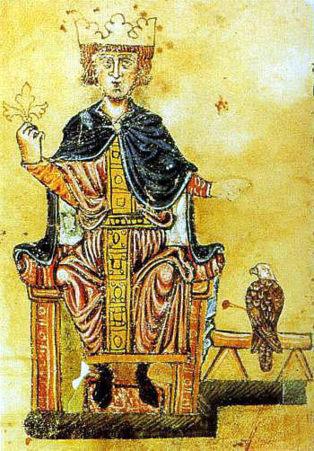 Federico II y su halcón, del libro De arte venandi cum avibus, de la Biblioteca Vaticana. Fuente: Wikimedia Commons.