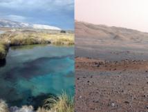 A la izquierda, Cuatro Ciénegas, y a la derecha, el cráter Gale por el que se mueve Curiosity en Marte. Imagen: L. Eguiarte Fruns//NASA/JPL-Caltech/MSSS. Fuente: SINC.