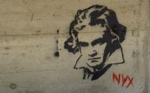 Beethoven, dibujado en un graffiti en Graz (Austria). Imagen: southtyrolean. Fuente: Flickr.