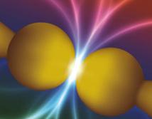"""Recreación artística del """"beso"""" de las nanoesferas. Fuente: CSIC."""
