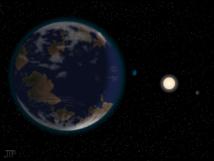 Recreación artística del planeta HD 40307g en primer plano (izquierda), junto a la estrella HD 40307 y otros dos planetas (derecha). El ambiente y continentes de la ilustración son especulativos. Imagen: J. Pinfield, RoPACS network, Universidad de Hertfordshire. Fuente: Universidad de Göttingen.