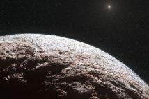 Impresión artística de la superficie del planeta enano Makemake. Fuente: ESO.
