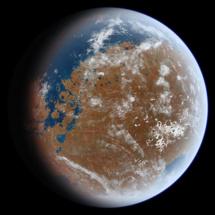 Recreación artística del aspecto de Marte hace miles de millones de años. Imagen: Ittiz. Fuente: Wikimedia Commons.