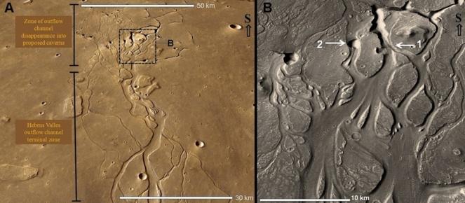 Vista del canal de salida Hebrus Valles, donde se observa su desaparición, y detalles, como un posible punto de colapso del techo de una cavidad (2). Fuente: NASA/JPL-Caltech/MSSS/PSI.